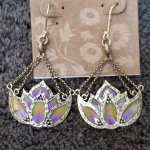 Lucky Brand Lotus Flower Tiffany Glass Earrings